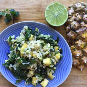 Rice Salad with lime, pineapple and mint