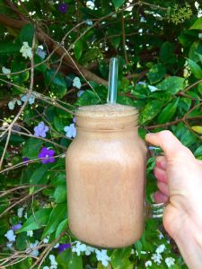 peppermint banana chocolate smoothie in a glass