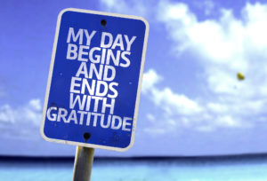Sign that reads, 'My day begins and ends with Gratitude'