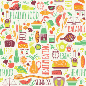 Vector seamless pattern with illustration of healthy food. Elemets for design