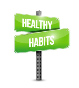 healthy habits road sign concept illustration design over white
